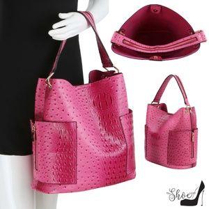My Bag Lady Online Bags - Ostrich & Alligator Side Zip Tote Set